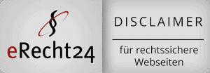 Ein Disclaimer ist heutzutage ein muss der Firmenwebseite. Um dieses rechtssicher zu gestalten, kann man seinen Disclaimer unter eRecht24 überprüfen bzw. gestalten lassen. Die NETBOOM Solution Gernsbach ist Agenturpartner von eRecht24 und lässt seine Webseite regelmäßig überprüfen.
